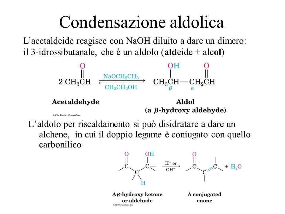 Condensazione aldolica Laldolo per riscaldamento si può disidratare a dare un alchene, in cui il doppio legame è coniugato con quello carbonilico Lace