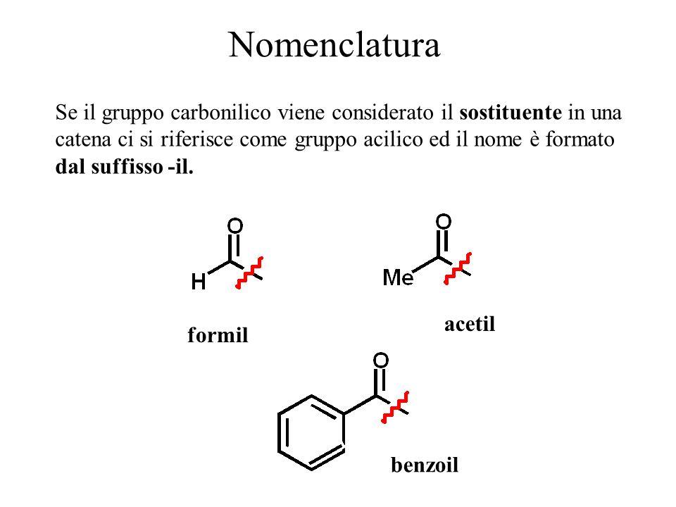 Nomenclatura Se il gruppo carbonilico viene considerato il sostituente in una catena ci si riferisce come gruppo acilico ed il nome è formato dal suff