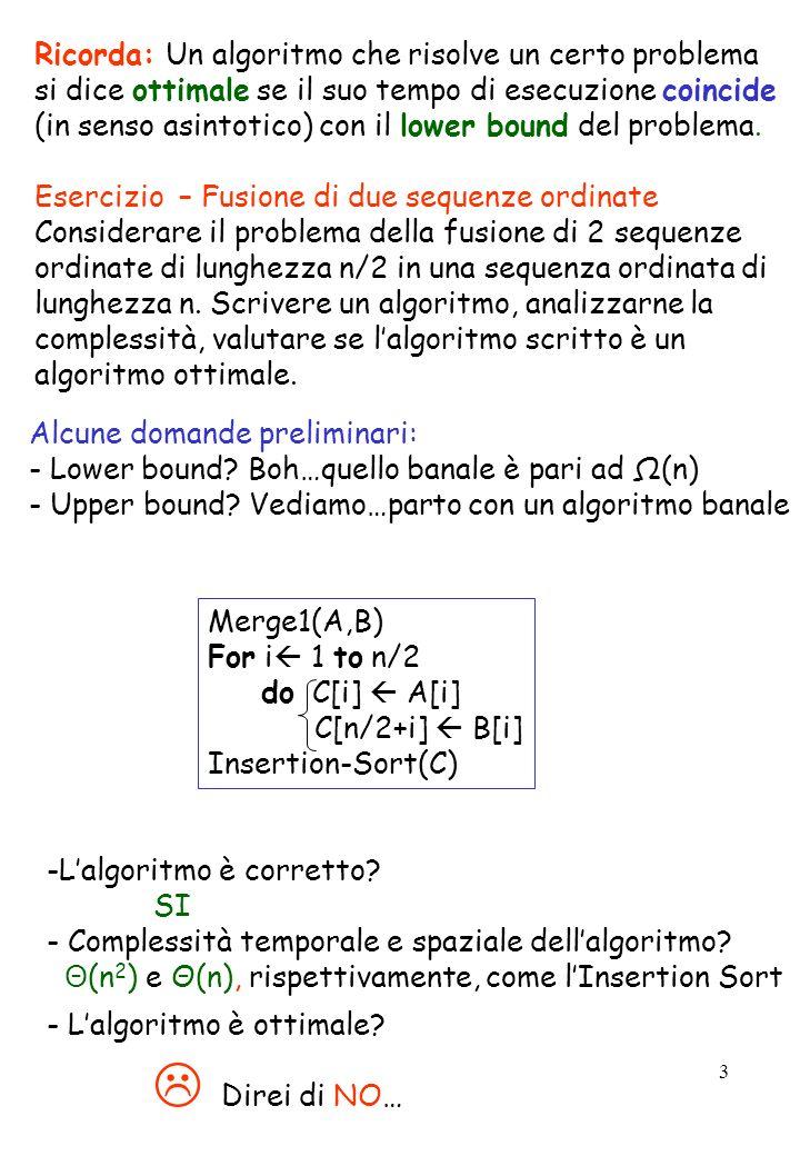 3 Ricorda: Un algoritmo che risolve un certo problema si dice ottimale se il suo tempo di esecuzione coincide (in senso asintotico) con il lower bound
