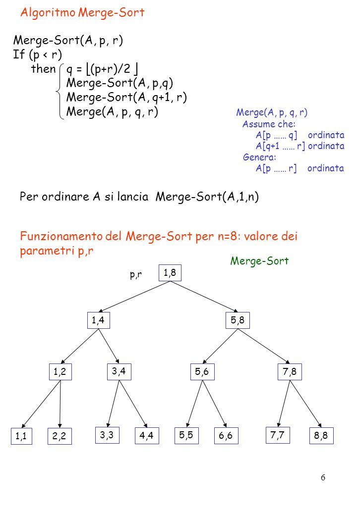 6 Algoritmo Merge-Sort Merge-Sort(A, p, r) If (p < r) then q = (p+r)/2 Merge-Sort(A, p,q) Merge-Sort(A, q+1, r) Merge(A, p, q, r) Merge(A, p, q, r) As
