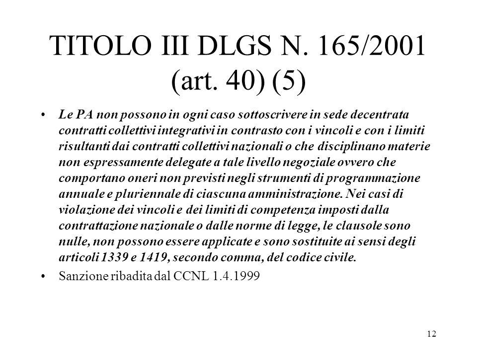 12 TITOLO III DLGS N. 165/2001 (art. 40) (5) Le PA non possono in ogni caso sottoscrivere in sede decentrata contratti collettivi integrativi in contr
