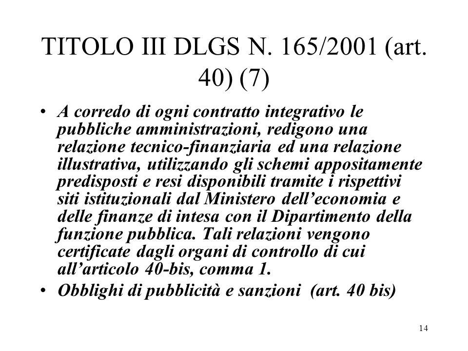 14 TITOLO III DLGS N. 165/2001 (art. 40) (7) A corredo di ogni contratto integrativo le pubbliche amministrazioni, redigono una relazione tecnico-fina