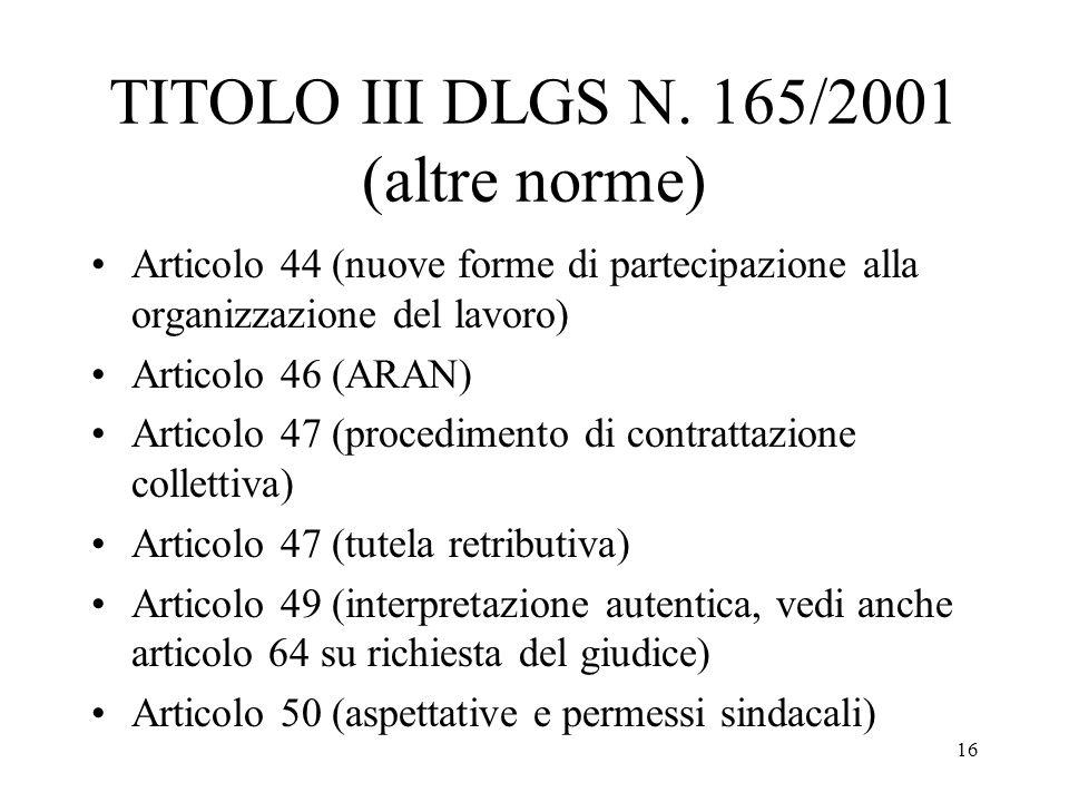 16 TITOLO III DLGS N. 165/2001 (altre norme) Articolo 44 (nuove forme di partecipazione alla organizzazione del lavoro) Articolo 46 (ARAN) Articolo 47
