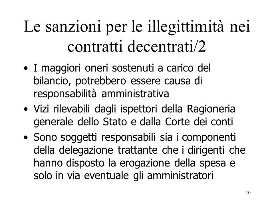 20 Le sanzioni per le illegittimità nei contratti decentrati/2 I maggiori oneri sostenuti a carico del bilancio, potrebbero essere causa di responsabi
