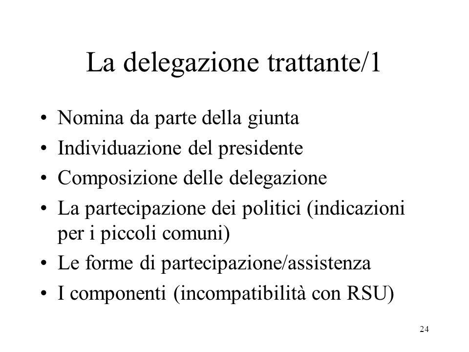 24 La delegazione trattante/1 Nomina da parte della giunta Individuazione del presidente Composizione delle delegazione La partecipazione dei politici