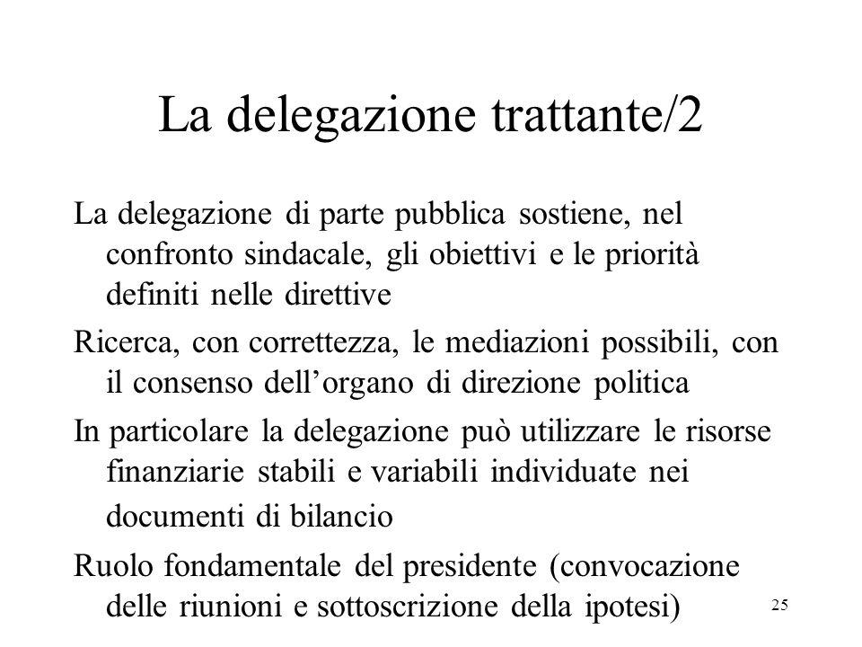 25 La delegazione trattante/2 La delegazione di parte pubblica sostiene, nel confronto sindacale, gli obiettivi e le priorità definiti nelle direttive