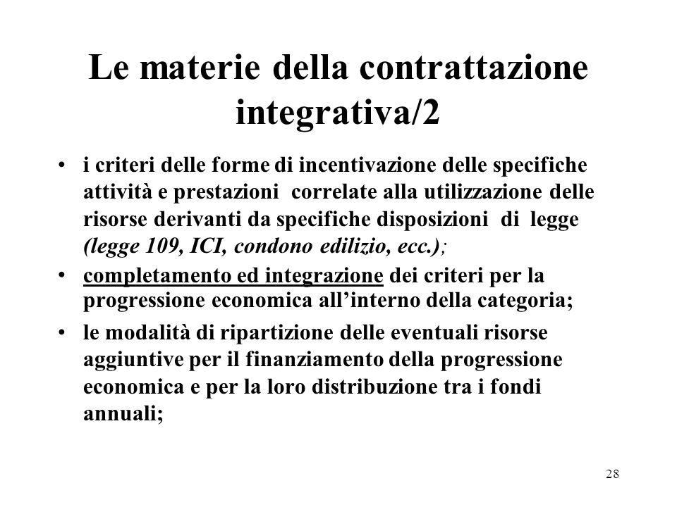 28 Le materie della contrattazione integrativa/2 i criteri delle forme di incentivazione delle specifiche attività e prestazioni correlate alla utiliz