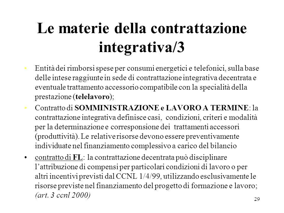 29 Le materie della contrattazione integrativa/3 Entità dei rimborsi spese per consumi energetici e telefonici, sulla base delle intese raggiunte in s