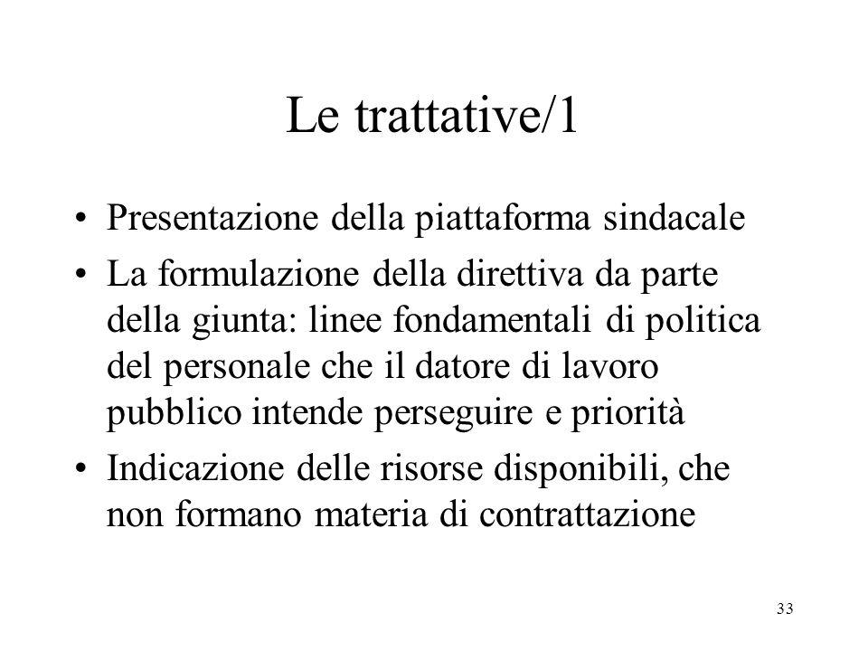 33 Le trattative/1 Presentazione della piattaforma sindacale La formulazione della direttiva da parte della giunta: linee fondamentali di politica del