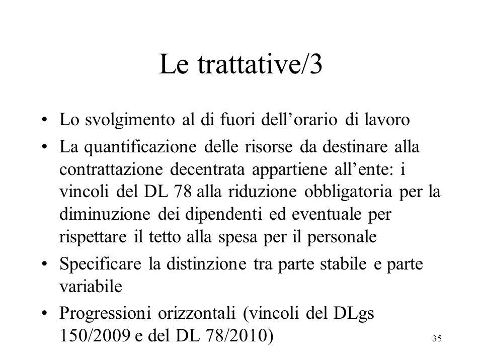 35 Le trattative/3 Lo svolgimento al di fuori dellorario di lavoro La quantificazione delle risorse da destinare alla contrattazione decentrata appart