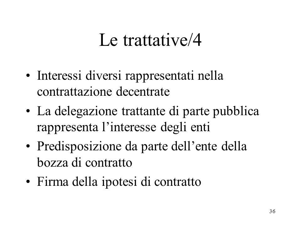 36 Le trattative/4 Interessi diversi rappresentati nella contrattazione decentrate La delegazione trattante di parte pubblica rappresenta linteresse d