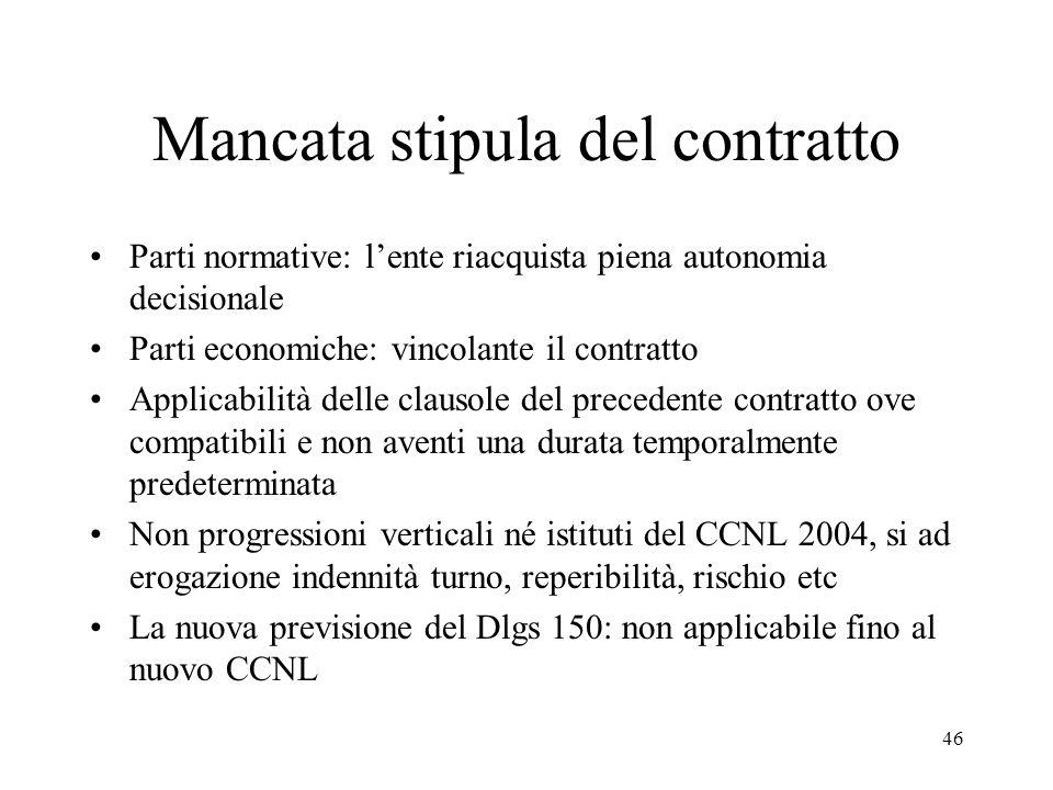 46 Mancata stipula del contratto Parti normative: lente riacquista piena autonomia decisionale Parti economiche: vincolante il contratto Applicabilità