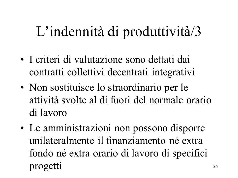 56 Lindennità di produttività/3 I criteri di valutazione sono dettati dai contratti collettivi decentrati integrativi Non sostituisce lo straordinario