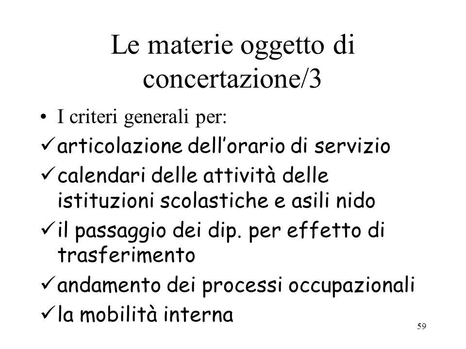 59 Le materie oggetto di concertazione/3 I criteri generali per: articolazione dellorario di servizio calendari delle attività delle istituzioni scola