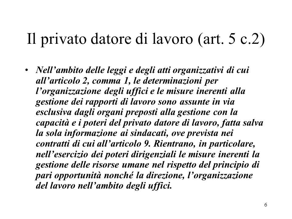 6 Il privato datore di lavoro (art. 5 c.2) Nellambito delle leggi e degli atti organizzativi di cui allarticolo 2, comma 1, le determinazioni per lorg