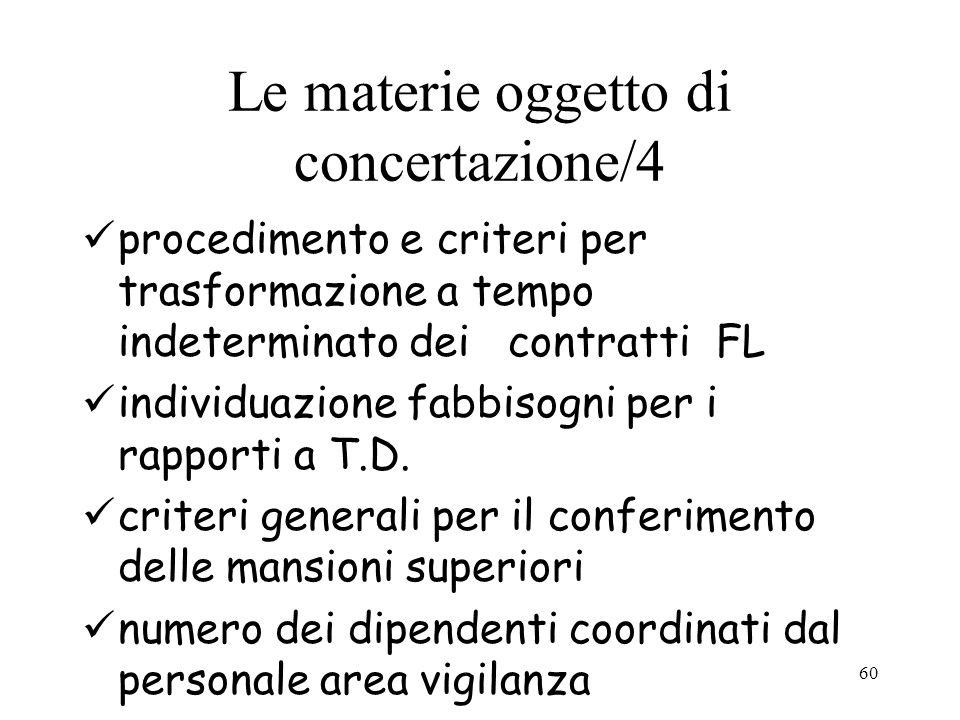 60 Le materie oggetto di concertazione/4 procedimento e criteri per trasformazione a tempo indeterminato dei contratti FL individuazione fabbisogni pe