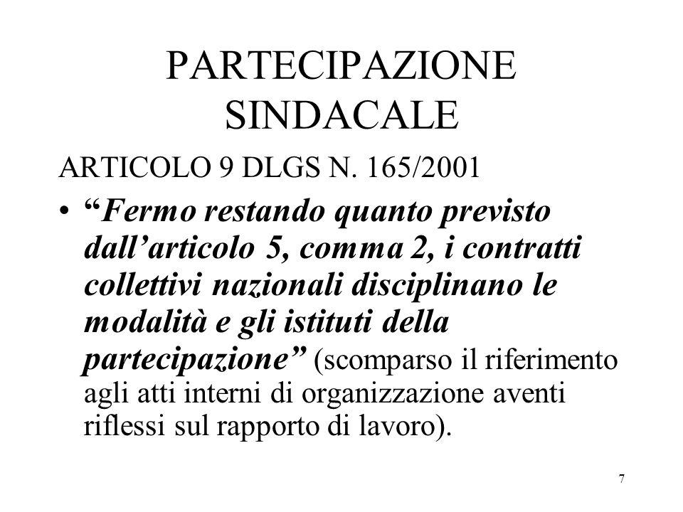 7 PARTECIPAZIONE SINDACALE ARTICOLO 9 DLGS N. 165/2001 Fermo restando quanto previsto dallarticolo 5, comma 2, i contratti collettivi nazionali discip