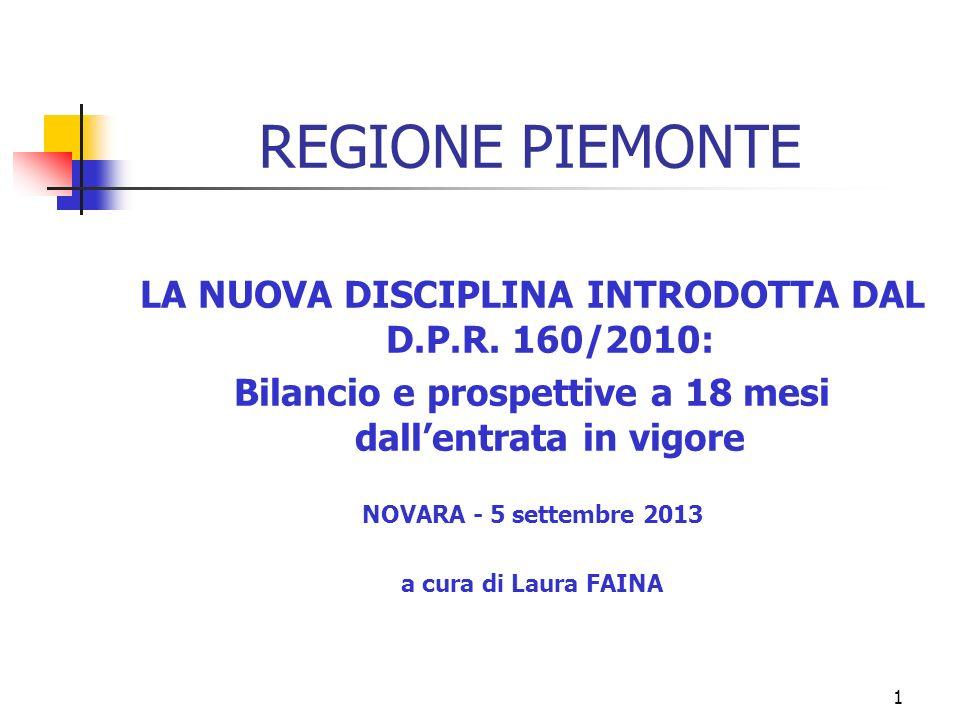 1 REGIONE PIEMONTE LA NUOVA DISCIPLINA INTRODOTTA DAL D.P.R.