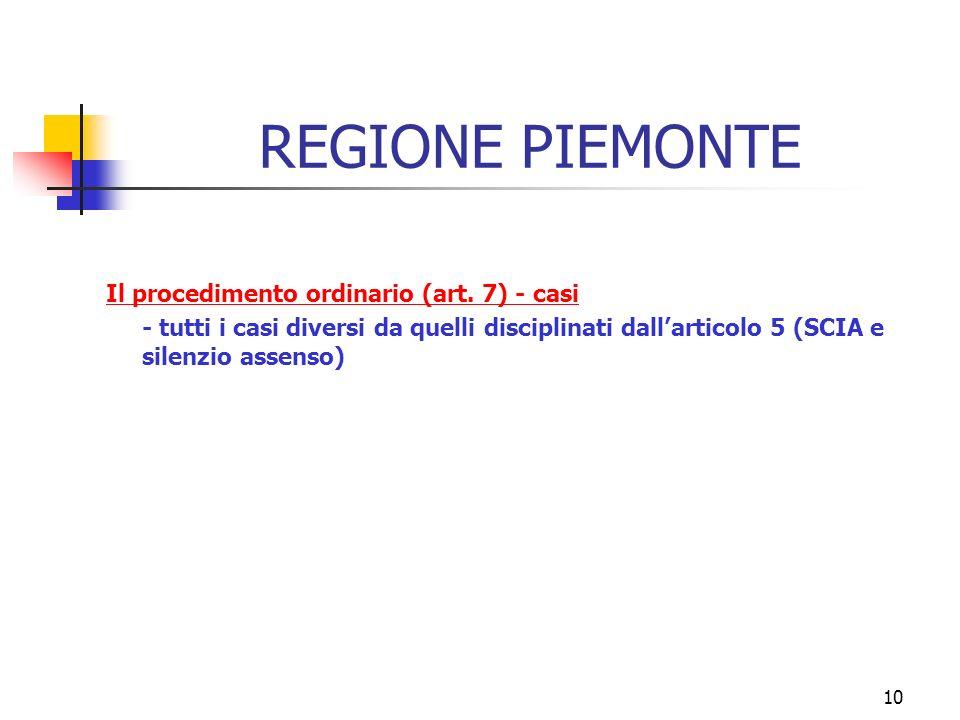 10 REGIONE PIEMONTE Il procedimento ordinario (art.