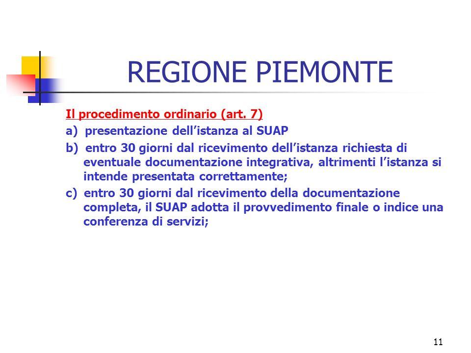 11 REGIONE PIEMONTE Il procedimento ordinario (art.