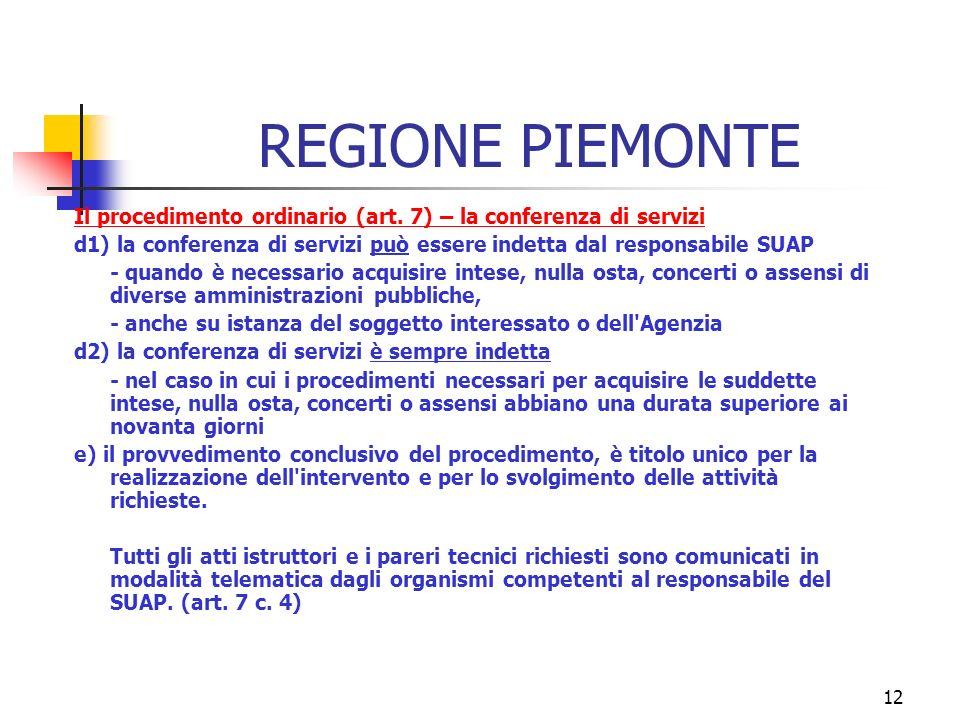 12 REGIONE PIEMONTE Il procedimento ordinario (art.