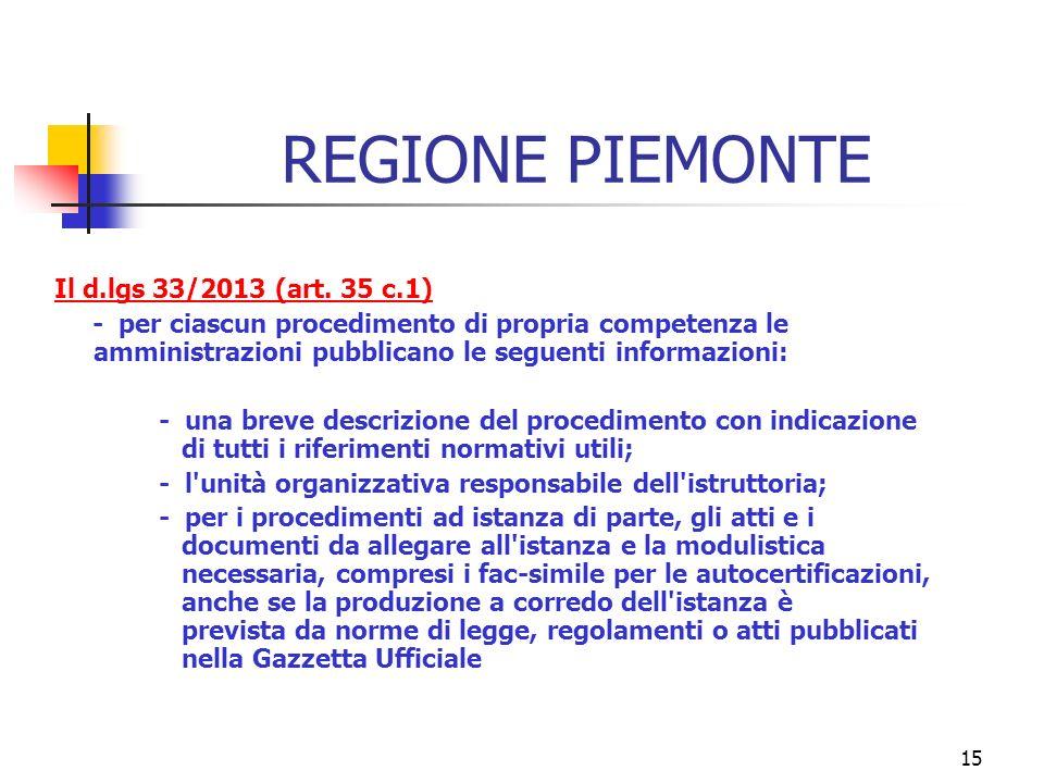 15 REGIONE PIEMONTE Il d.lgs 33/2013 (art.