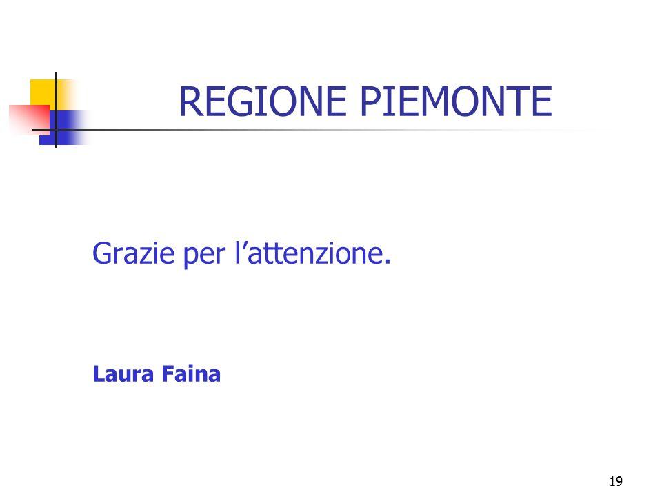 19 REGIONE PIEMONTE Grazie per lattenzione. Laura Faina