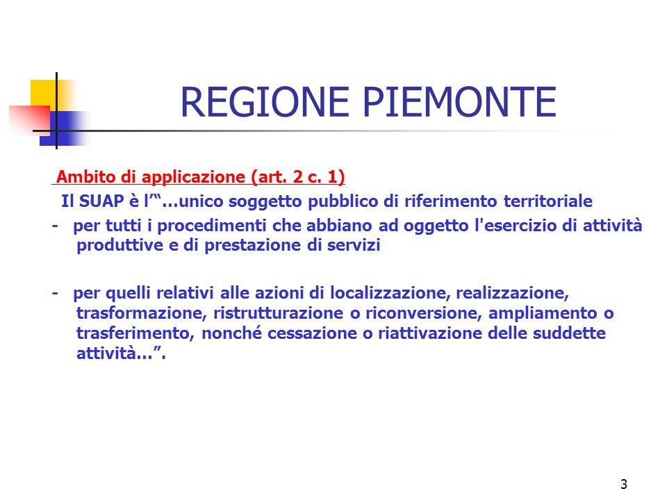 3 REGIONE PIEMONTE Ambito di applicazione (art. 2 c.