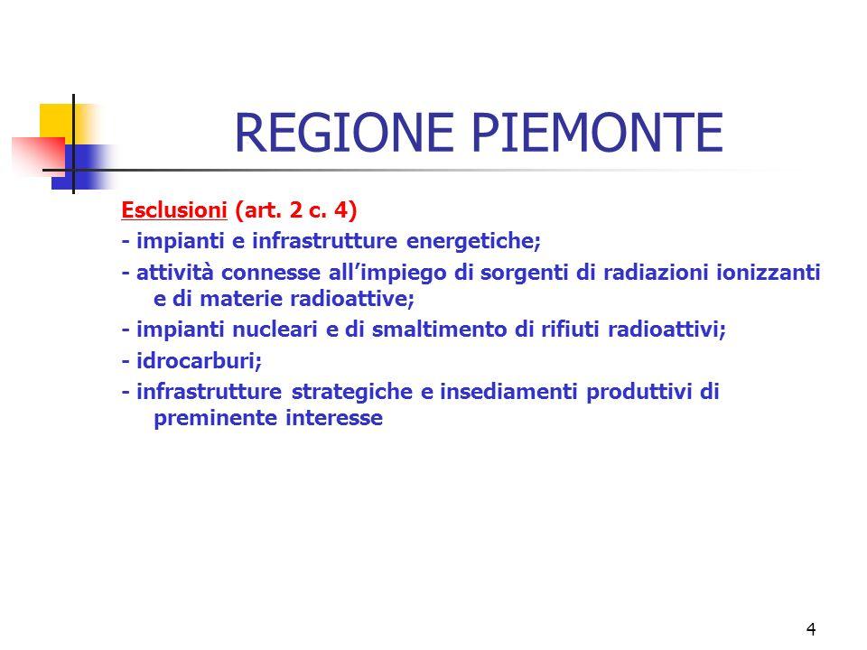 4 REGIONE PIEMONTE Esclusioni (art. 2 c.