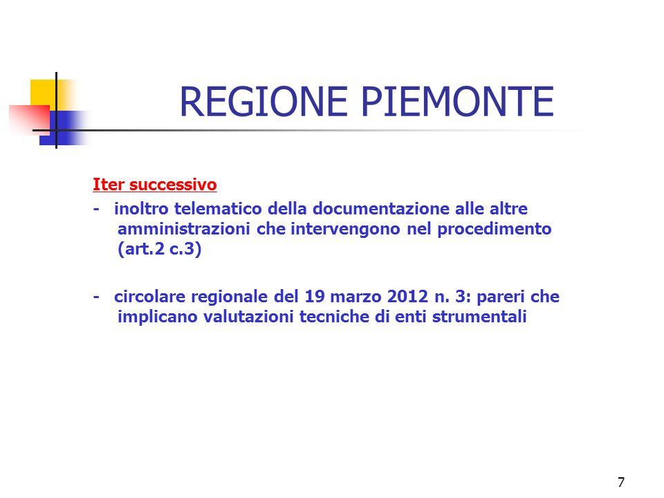 7 REGIONE PIEMONTE Iter successivo - inoltro telematico della documentazione alle altre amministrazioni che intervengono nel procedimento (art.2 c.3) - circolare regionale del 19 marzo 2012 n.