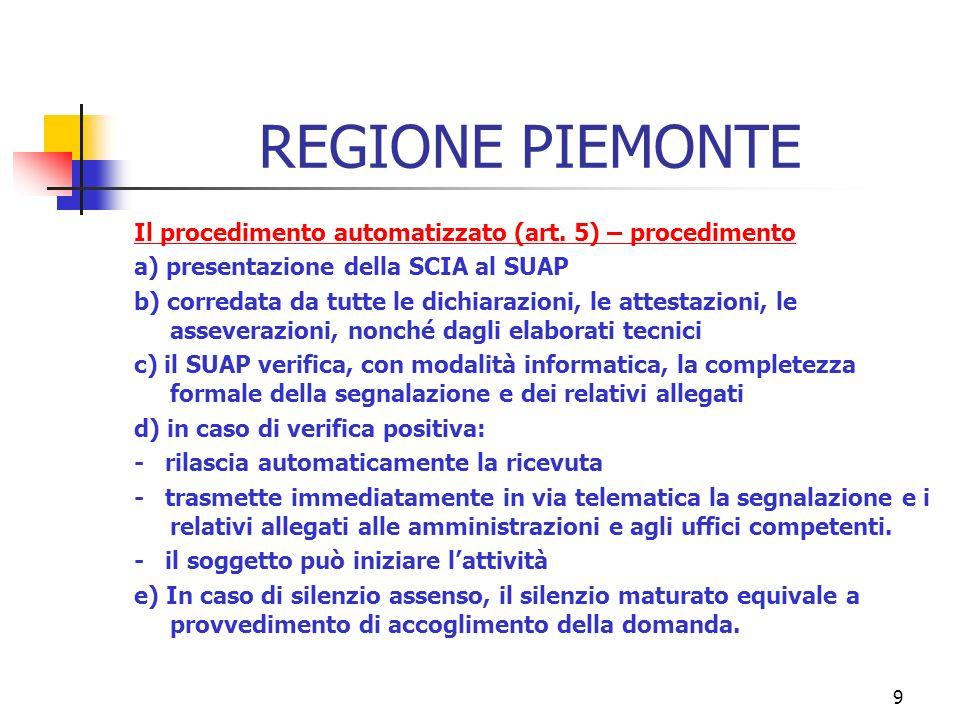 9 REGIONE PIEMONTE Il procedimento automatizzato (art.