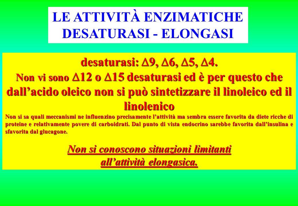 desaturasi: 9, 6, 5, 4. Non vi sono 12 o 15 desaturasi ed è per questo che dallacido oleico non si può sintetizzare il linoleico ed il linolenico Non