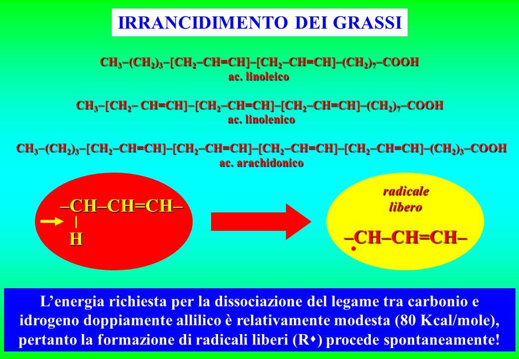 Lenergia richiesta per la dissociazione del legame tra carbonio e idrogeno doppiamente allilico è relativamente modesta (80 Kcal/mole), pertanto la formazione di radicali liberi (R ) procede spontaneamente.