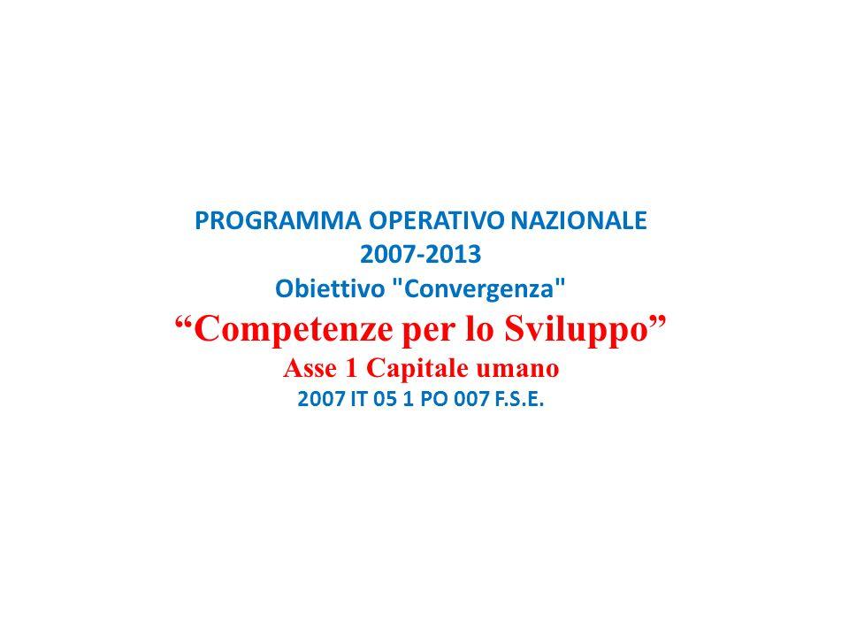PROGRAMMA OPERATIVO NAZIONALE 2007-2013 Obiettivo Convergenza Competenze per lo Sviluppo Asse 1 Capitale umano 2007 IT 05 1 PO 007 F.S.E.