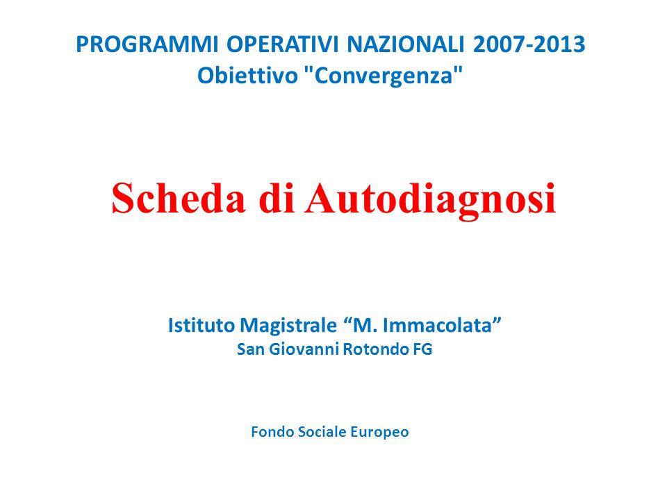 PROGRAMMI OPERATIVI NAZIONALI 2007-2013 Obiettivo Convergenza Scheda di Autodiagnosi Istituto Magistrale M.