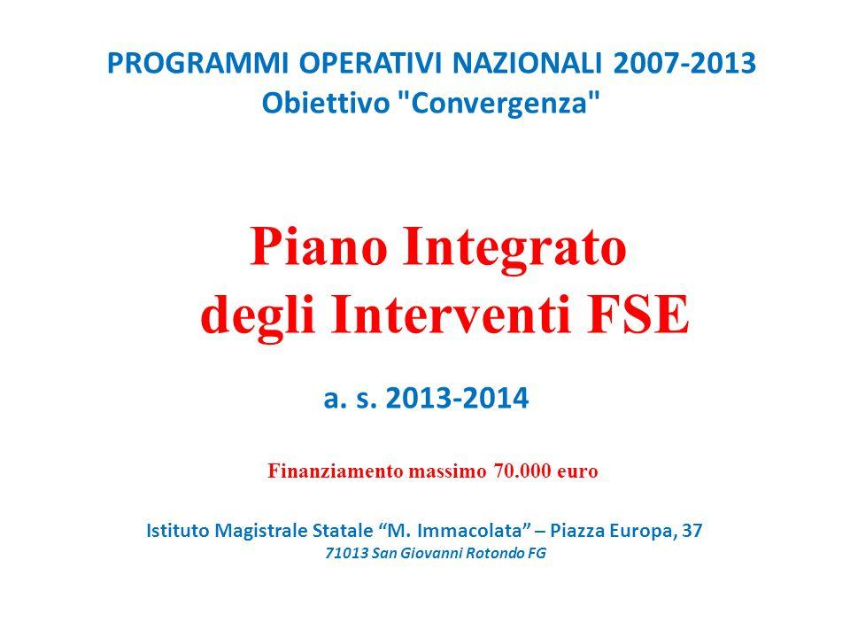 PROGRAMMI OPERATIVI NAZIONALI 2007-2013 Obiettivo Convergenza Piano Integrato degli Interventi FSE a.