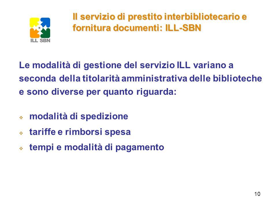 10 Le modalità di gestione del servizio ILL variano a seconda della titolarità amministrativa delle biblioteche e sono diverse per quanto riguarda: mo