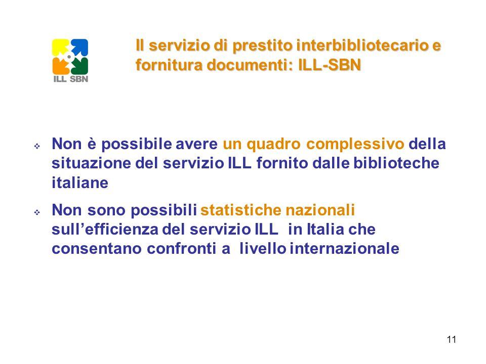 11 Non è possibile avere un quadro complessivo della situazione del servizio ILL fornito dalle biblioteche italiane Non sono possibili statistiche naz