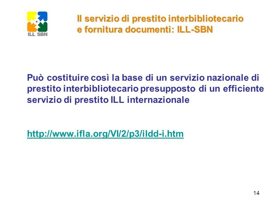 14 Può costituire così la base di un servizio nazionale di prestito interbibliotecario presupposto di un efficiente servizio di prestito ILL internazi