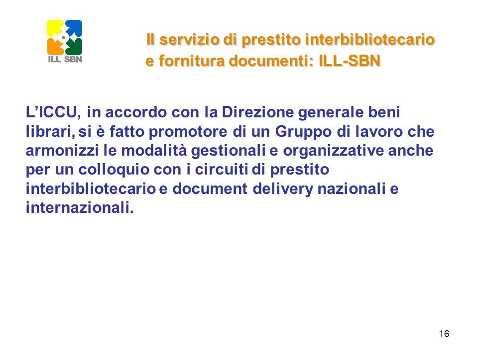 16 Il servizio di prestito interbibliotecario e fornitura documenti: ILL-SBN LICCU, in accordo con la Direzione generale beni librari, si è fatto prom