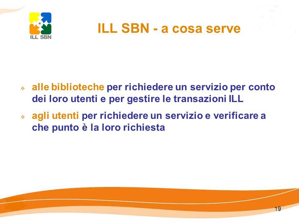 19 ILL SBN - a cosa serve alle biblioteche per richiedere un servizio per conto dei loro utenti e per gestire le transazioni ILL agli utenti per richi