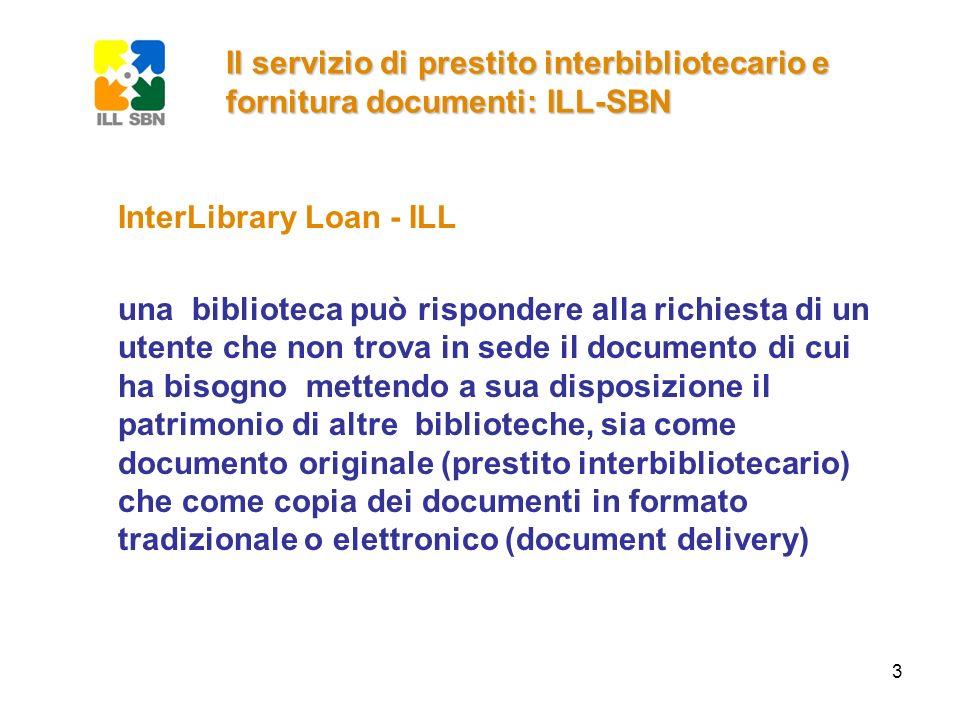 4 Il servizio di prestito interbibliotecario e fornitura documenti: ILL-SBN InterLibrary Loan - ILL gestire una richiesta di prestito interbibliotecario vuole dire gestire la comunicazione tra gli utenti e le biblioteche migliorare il servizio ILL vuol dire rendere questa comunicazione più veloce, più amichevole e più chiara