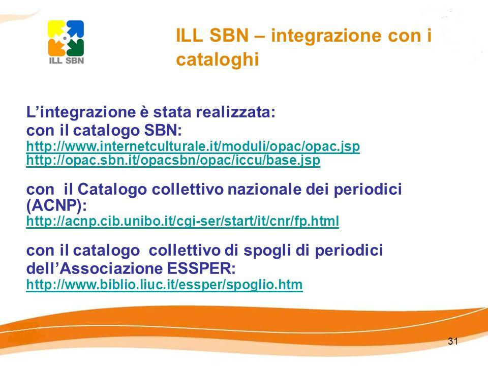 31 ILL SBN – integrazione con i cataloghi Lintegrazione è stata realizzata: con il catalogo SBN: http://www.internetculturale.it/moduli/opac/opac.jsp