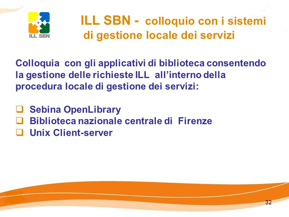 32 ILL SBN - colloquio con i sistemi di gestione locale dei servizi Colloquia con gli applicativi di biblioteca consentendo la gestione delle richiest