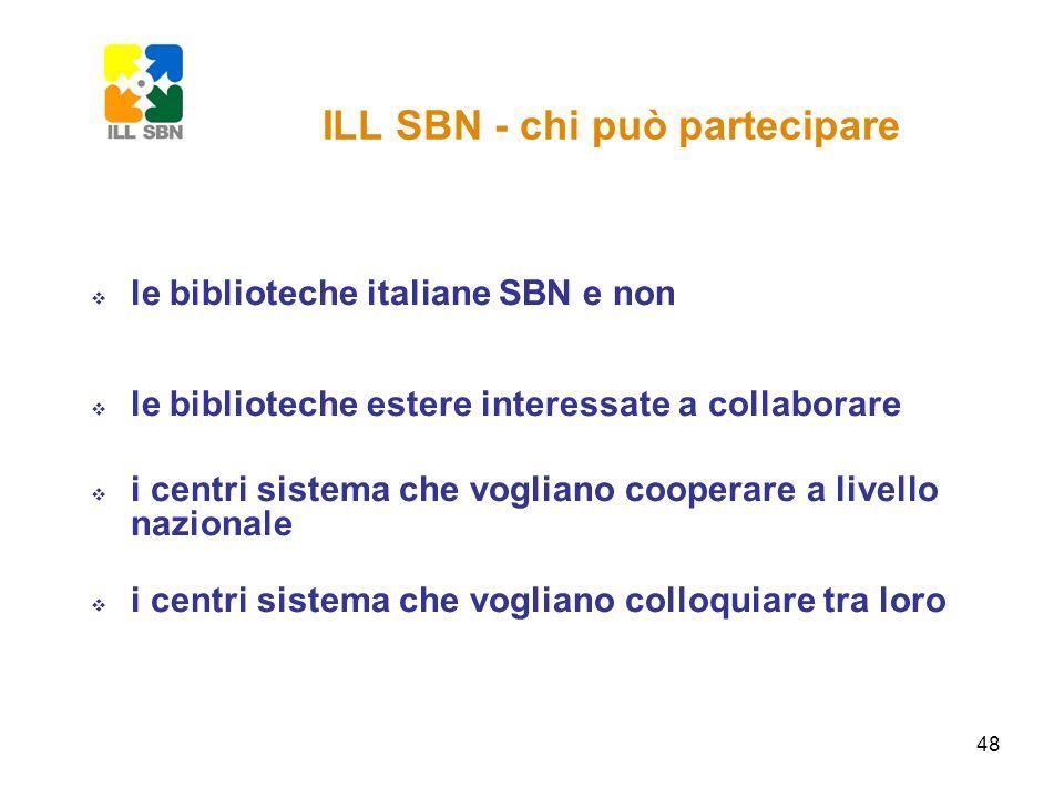 48 le biblioteche italiane SBN e non le biblioteche estere interessate a collaborare i centri sistema che vogliano cooperare a livello nazionale i cen