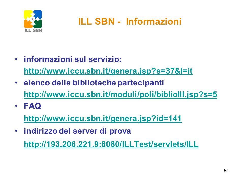 51 informazioni sul servizio: http://www.iccu.sbn.it/genera.jsp?s=37&l=it elenco delle biblioteche partecipanti http://www.iccu.sbn.it/moduli/poli/bib