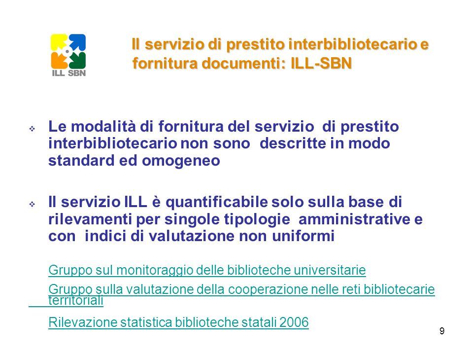 9 Le modalità di fornitura del servizio di prestito interbibliotecario non sono descritte in modo standard ed omogeneo Il servizio ILL è quantificabil