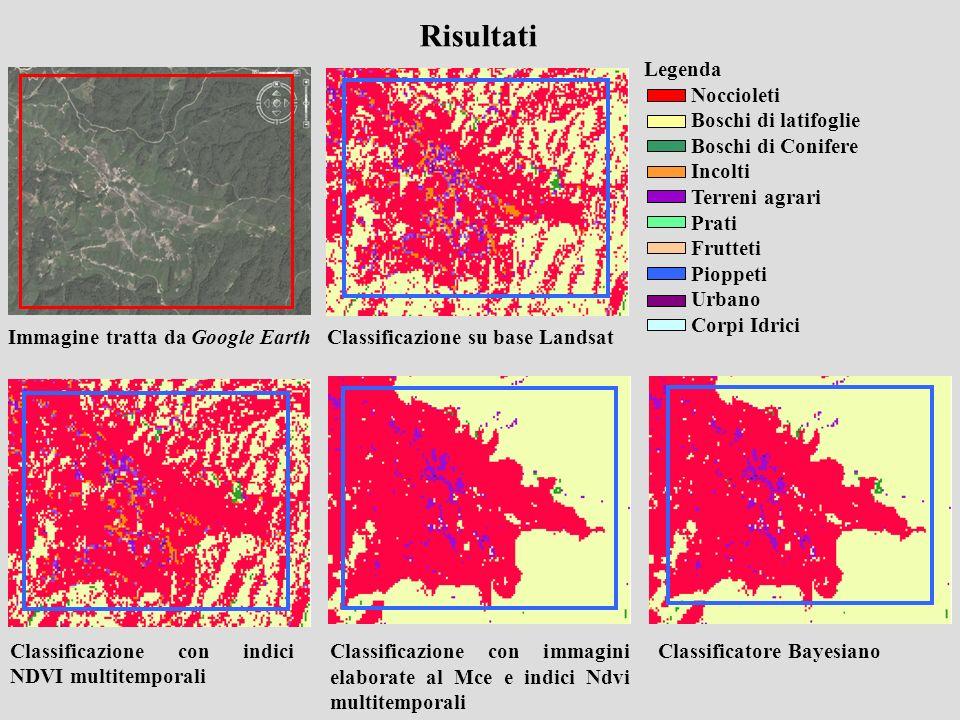 Classificazione con indici NDVI multitemporali Risultati Immagine tratta da Google Earth Classificazione su base Landsat Classificazione con immagini