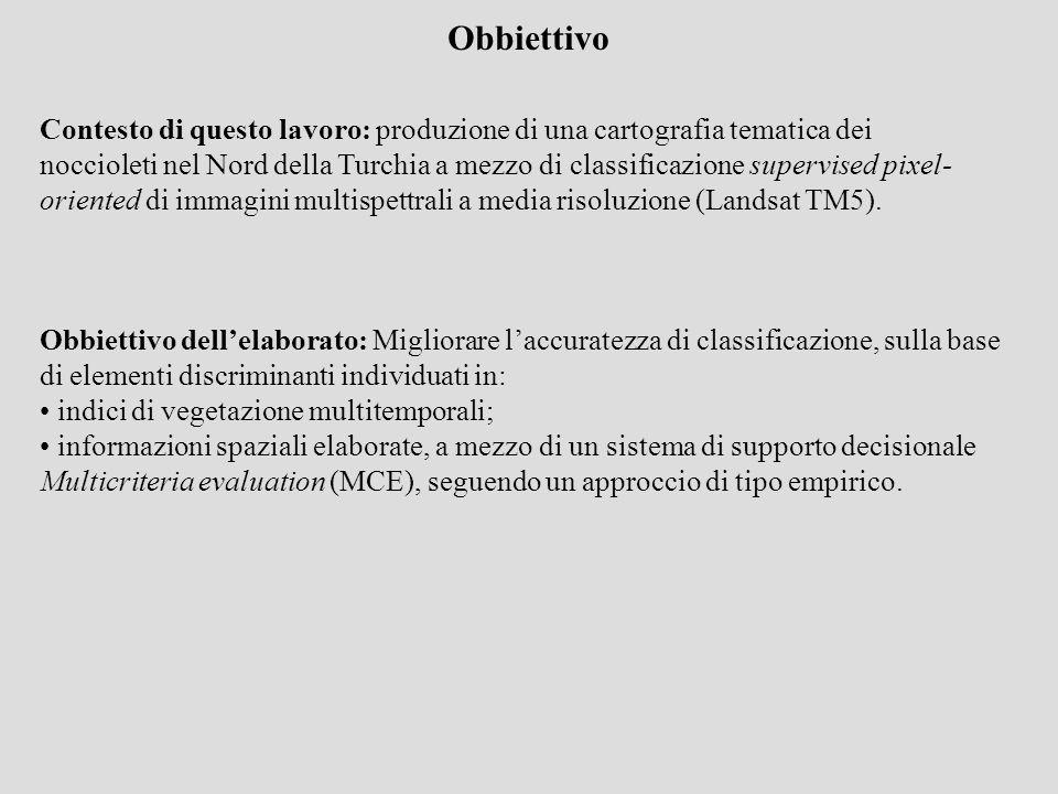 Obbiettivo dellelaborato: Migliorare laccuratezza di classificazione, sulla base di elementi discriminanti individuati in: indici di vegetazione multi