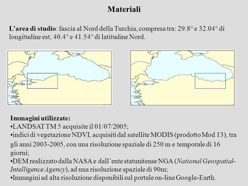 Materiali Larea di studio: fascia al Nord della Turchia, compresa tra: 29.8° e 32.04° di longitudine est, 40.4° e 41.54° di latitudine Nord. Immagini